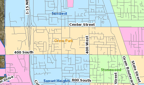 Orem Park Neighborhood Map, Orem Utah