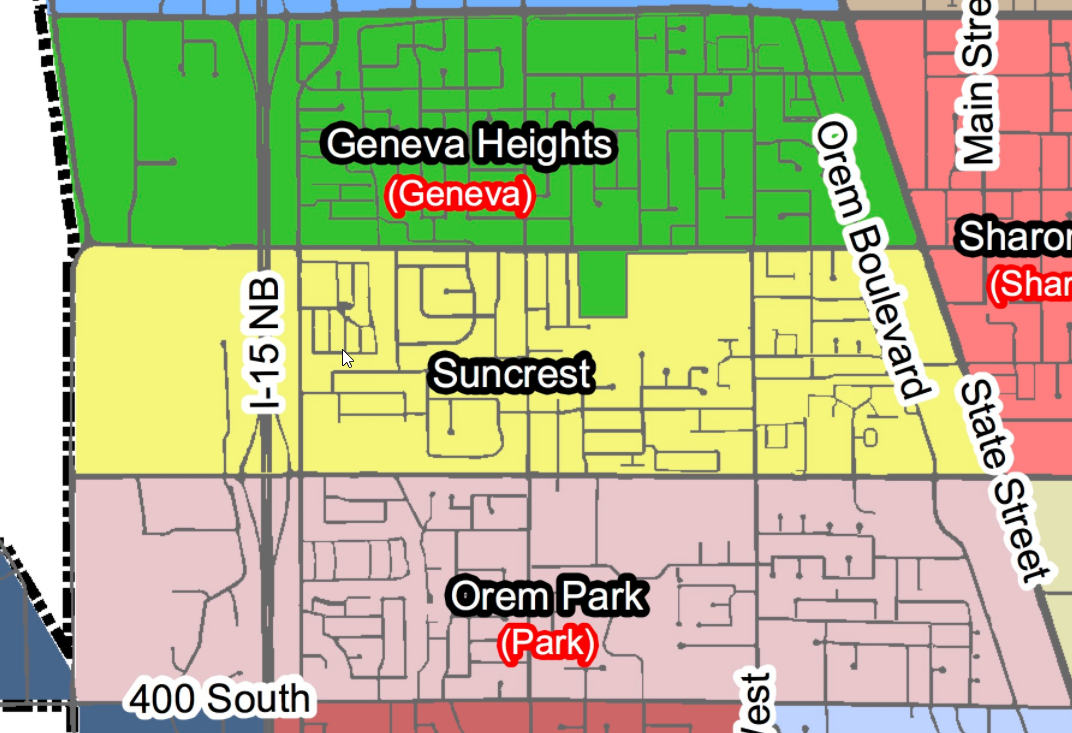 Suncrest Neighborhood Map - Orem, UT